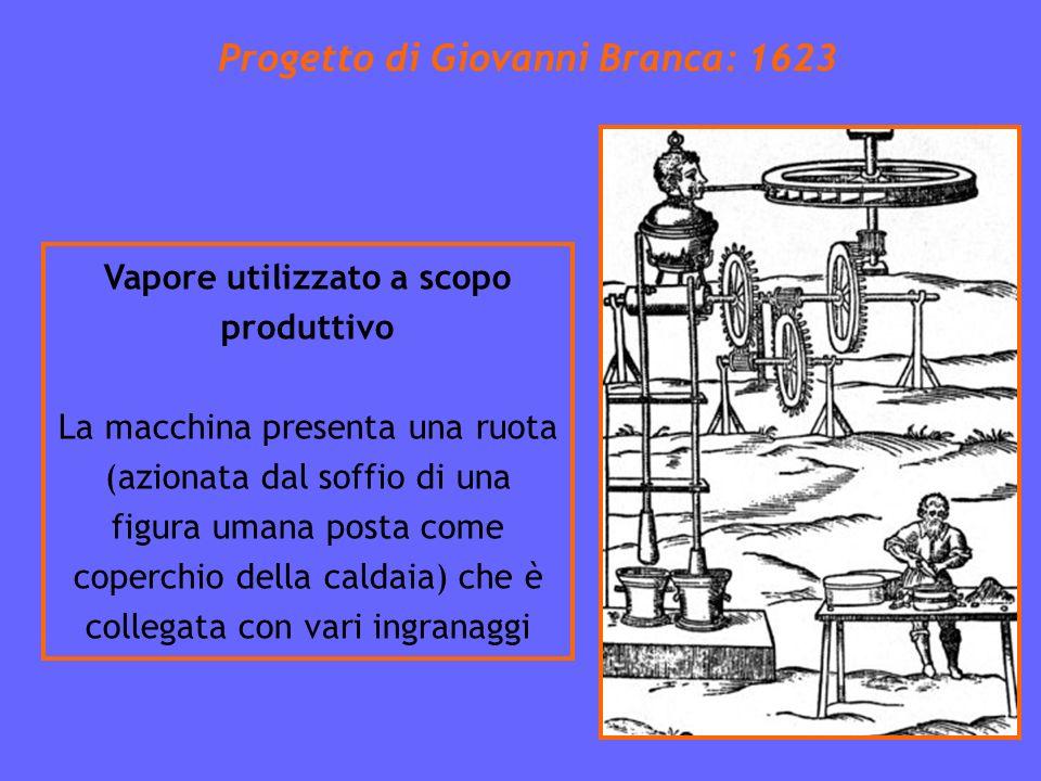 Progetto di Giovanni Branca: 1623 Vapore utilizzato a scopo produttivo La macchina presenta una ruota (azionata dal soffio di una figura umana posta come coperchio della caldaia) che è collegata con vari ingranaggi