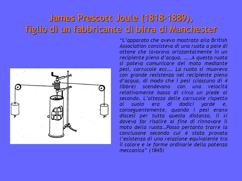 James Prescott Joule (1818-1889), figlio di un fabbricante di birra di Manchester Lapparato che avevo mostrato alla British Association consisteva di una ruota a pale di ottone che lavorava orizzontalmente in un recipiente pieno dacqua.