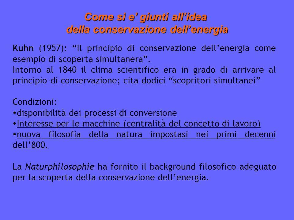 Come si e giunti allidea della conservazione dellenergia della conservazione dellenergia Kuhn (1957): Il principio di conservazione dellenergia come esempio di scoperta simultanera.