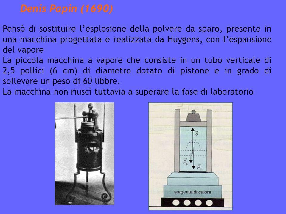 Denis Papin (1690) Pensò di sostituire lesplosione della polvere da sparo, presente in una macchina progettata e realizzata da Huygens, con lespansione del vapore La piccola macchina a vapore che consiste in un tubo verticale di 2,5 pollici (6 cm) di diametro dotato di pistone e in grado di sollevare un peso di 60 libbre.