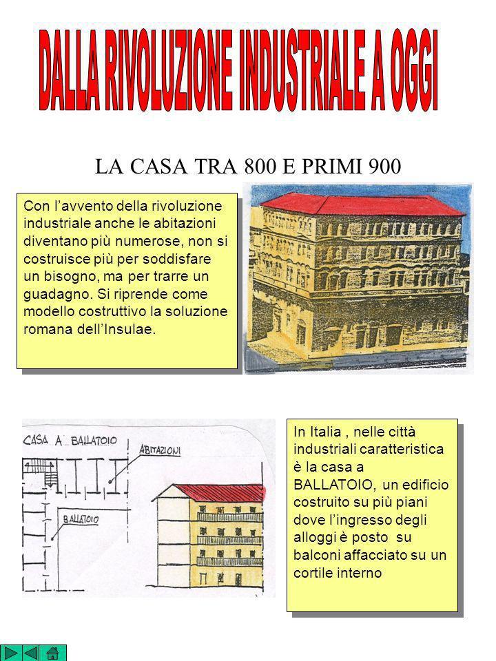 LA CASA TRA 800 E PRIMI 900 Con lavvento della rivoluzione industriale anche le abitazioni diventano più numerose, non si costruisce più per soddisfar
