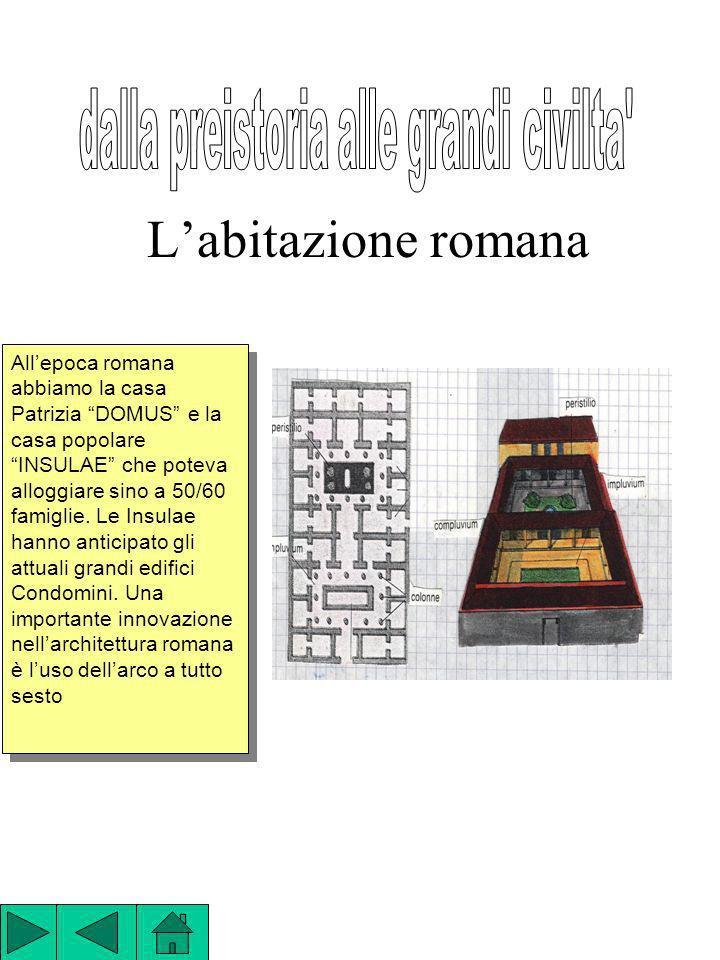 Labitazione romana Allepoca romana abbiamo la casa Patrizia DOMUS e la casa popolare INSULAE che poteva alloggiare sino a 50/60 famiglie. Le Insulae h