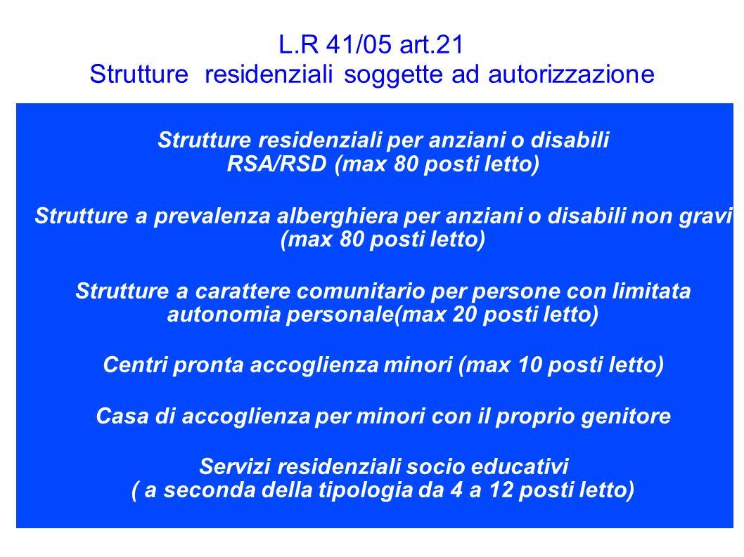 3 L.R 41/05 art.21 Strutture residenziali soggette ad autorizzazione Strutture residenziali per anziani o disabili RSA/RSD (max 80 posti letto) Strutt