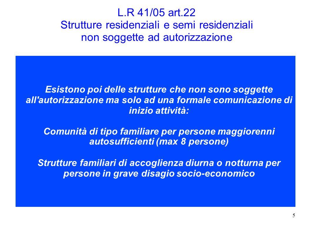 5 L.R 41/05 art.22 Strutture residenziali e semi residenziali non soggette ad autorizzazione Esistono poi delle strutture che non sono soggette all'au