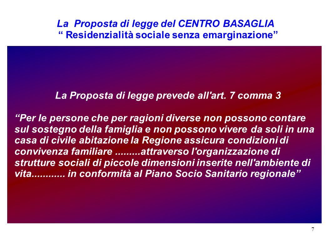 7 La Proposta di legge del CENTRO BASAGLIA Residenzialità sociale senza emarginazione La Proposta di legge prevede all'art. 7 comma 3 Per le persone c