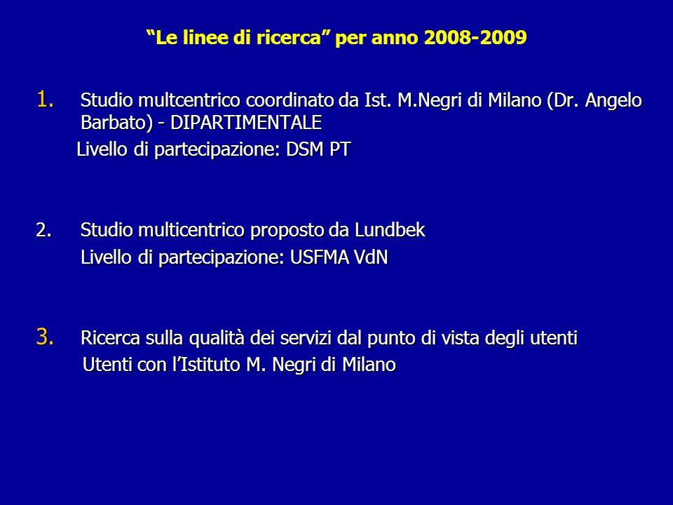 Le linee di ricerca per anno 2008-2009 1. Studio multcentrico coordinato da Ist. M.Negri di Milano (Dr. Angelo Barbato) - DIPARTIMENTALE Livello di pa