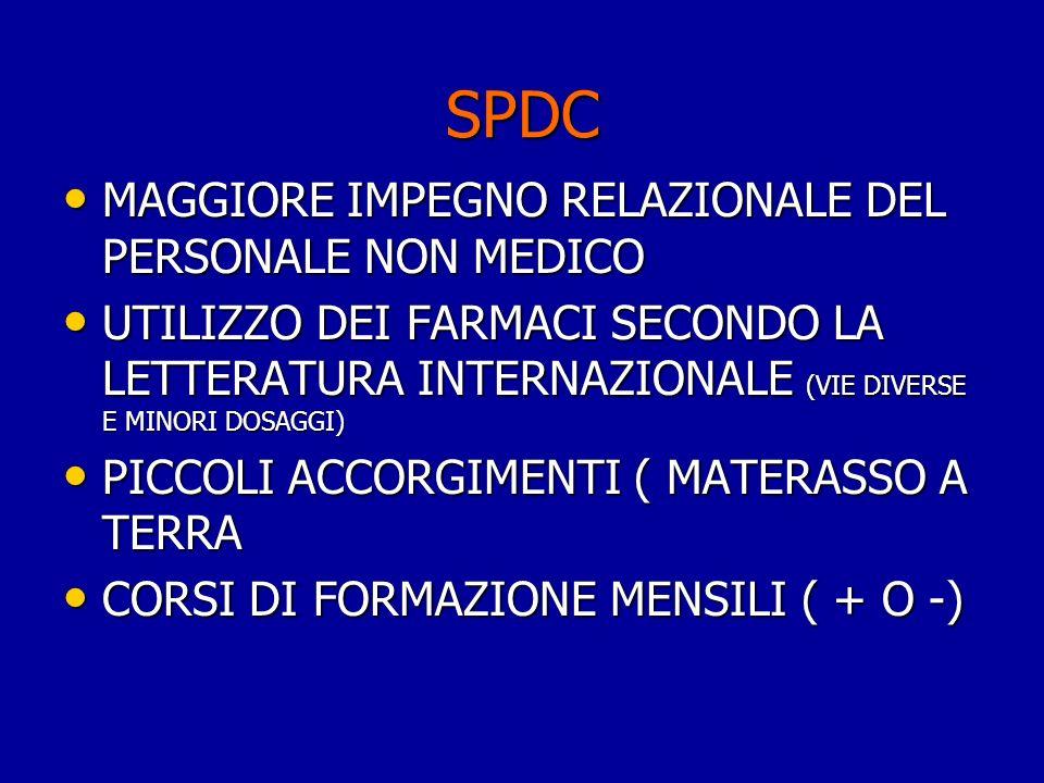 SPDC MAGGIORE IMPEGNO RELAZIONALE DEL PERSONALE NON MEDICO MAGGIORE IMPEGNO RELAZIONALE DEL PERSONALE NON MEDICO UTILIZZO DEI FARMACI SECONDO LA LETTE