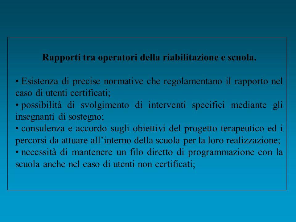 Rapporti tra operatori della riabilitazione e scuola.