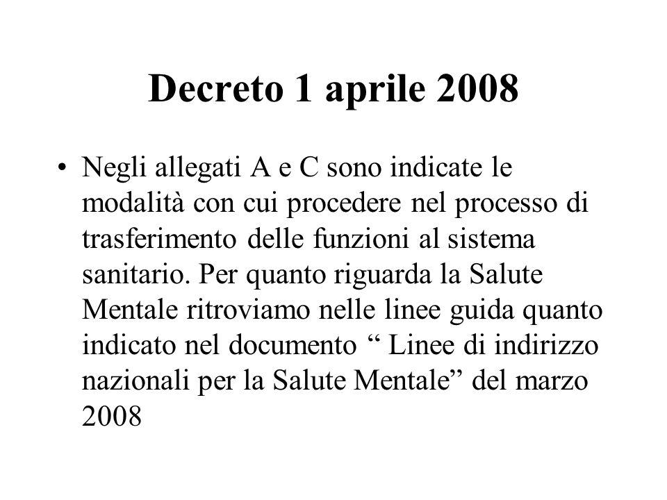 Decreto 1 aprile 2008 Negli allegati A e C sono indicate le modalità con cui procedere nel processo di trasferimento delle funzioni al sistema sanitar