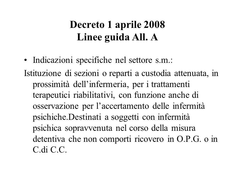 Decreto 1 aprile 2008 Linee guida All. A Indicazioni specifiche nel settore s.m.: Istituzione di sezioni o reparti a custodia attenuata, in prossimità