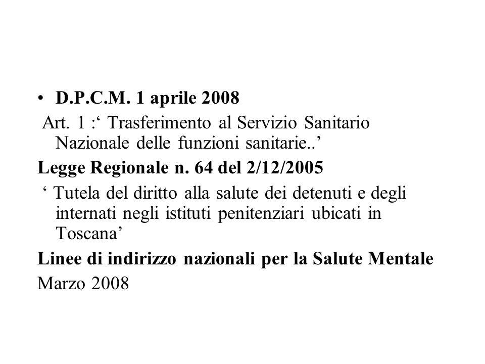 D.P.C.M. 1 aprile 2008 Art. 1 : Trasferimento al Servizio Sanitario Nazionale delle funzioni sanitarie.. Legge Regionale n. 64 del 2/12/2005 Tutela de