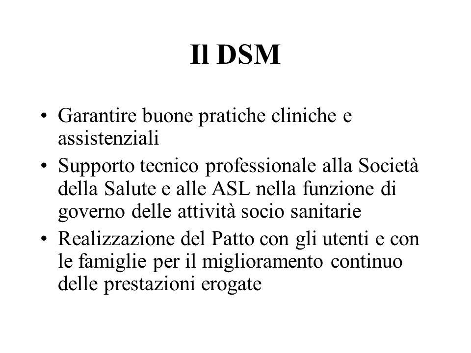 Il DSM Garantire buone pratiche cliniche e assistenziali Supporto tecnico professionale alla Società della Salute e alle ASL nella funzione di governo