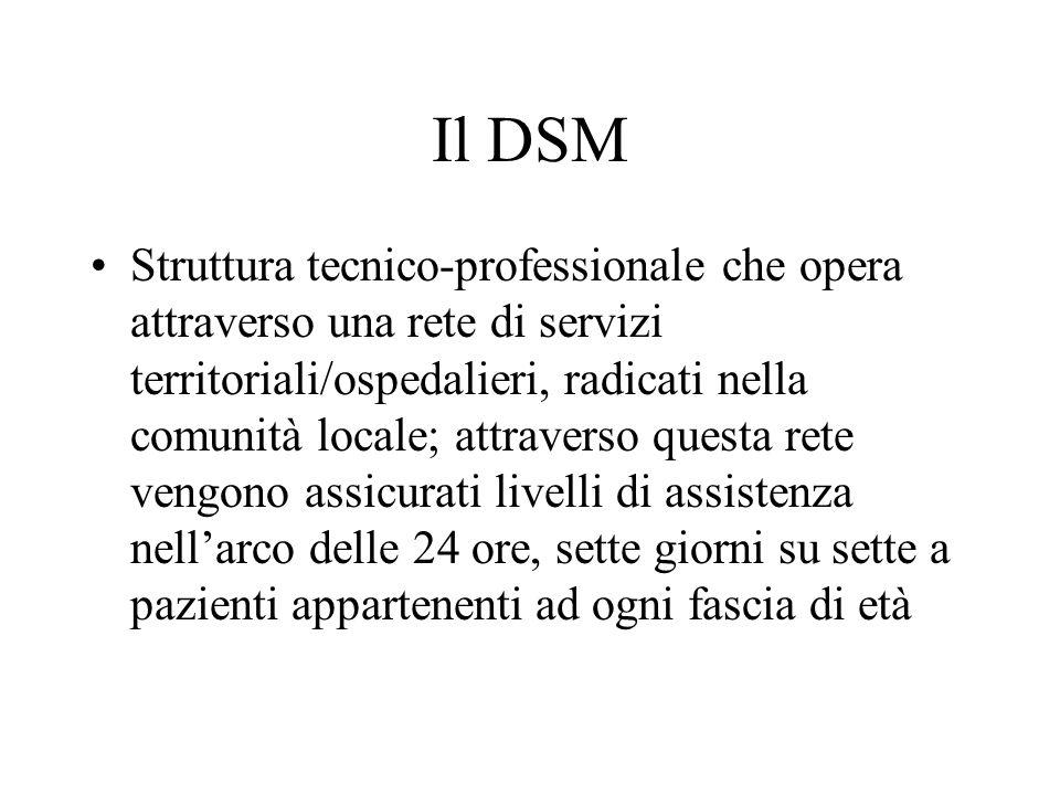 Il DSM Struttura tecnico-professionale che opera attraverso una rete di servizi territoriali/ospedalieri, radicati nella comunità locale; attraverso q