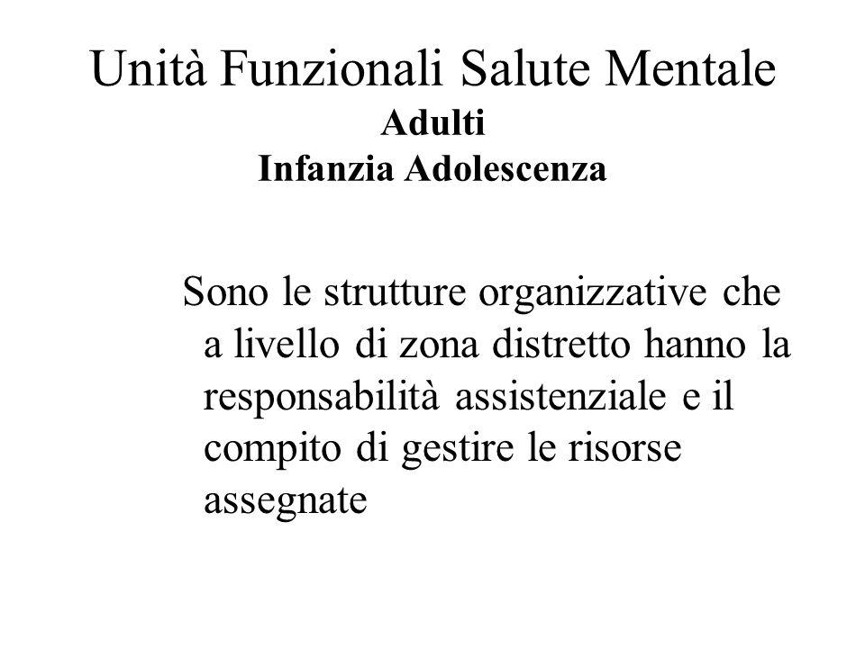Unità Funzionali Salute Mentale Adulti Infanzia Adolescenza Sono le strutture organizzative che a livello di zona distretto hanno la responsabilità as