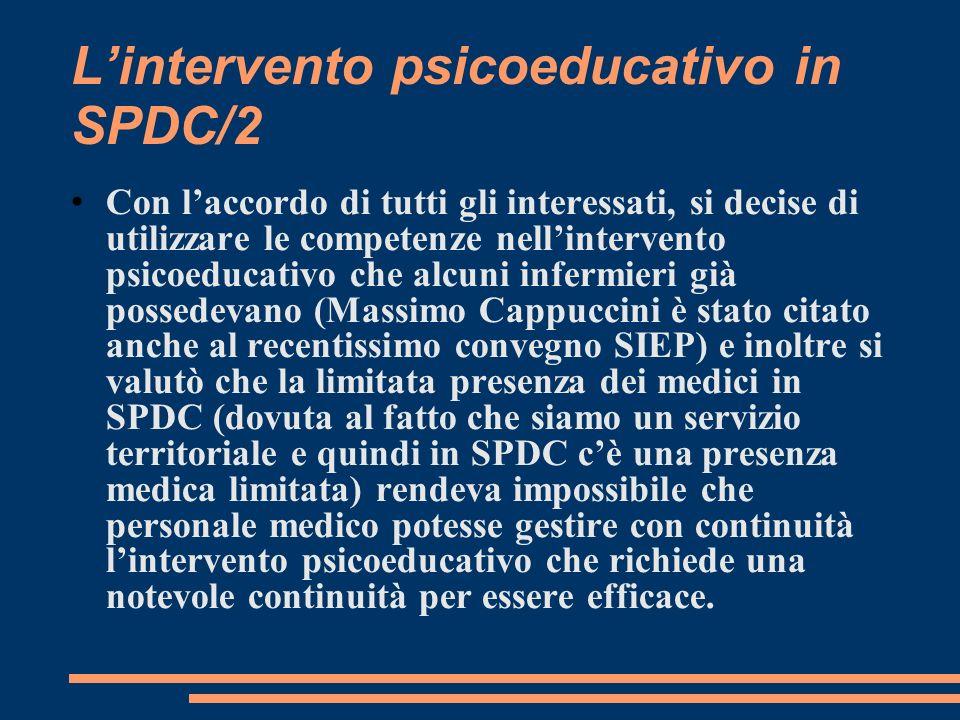 Lintervento psicoeducativo in SPDC/2 Con laccordo di tutti gli interessati, si decise di utilizzare le competenze nellintervento psicoeducativo che al