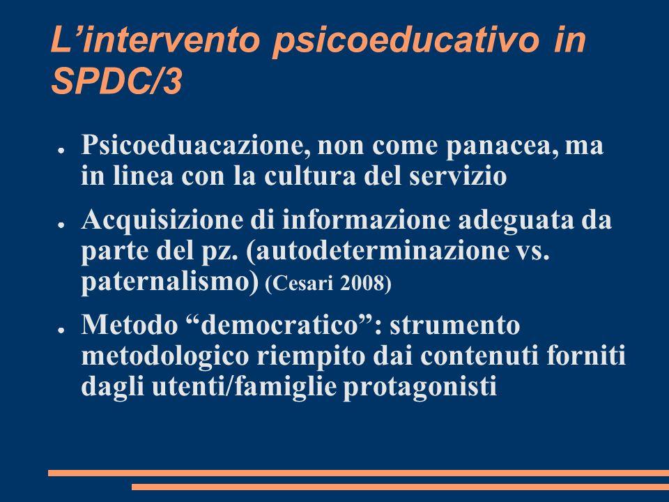 Lintervento psicoeducativo in SPDC/3 Psicoeduacazione, non come panacea, ma in linea con la cultura del servizio Acquisizione di informazione adeguata da parte del pz.