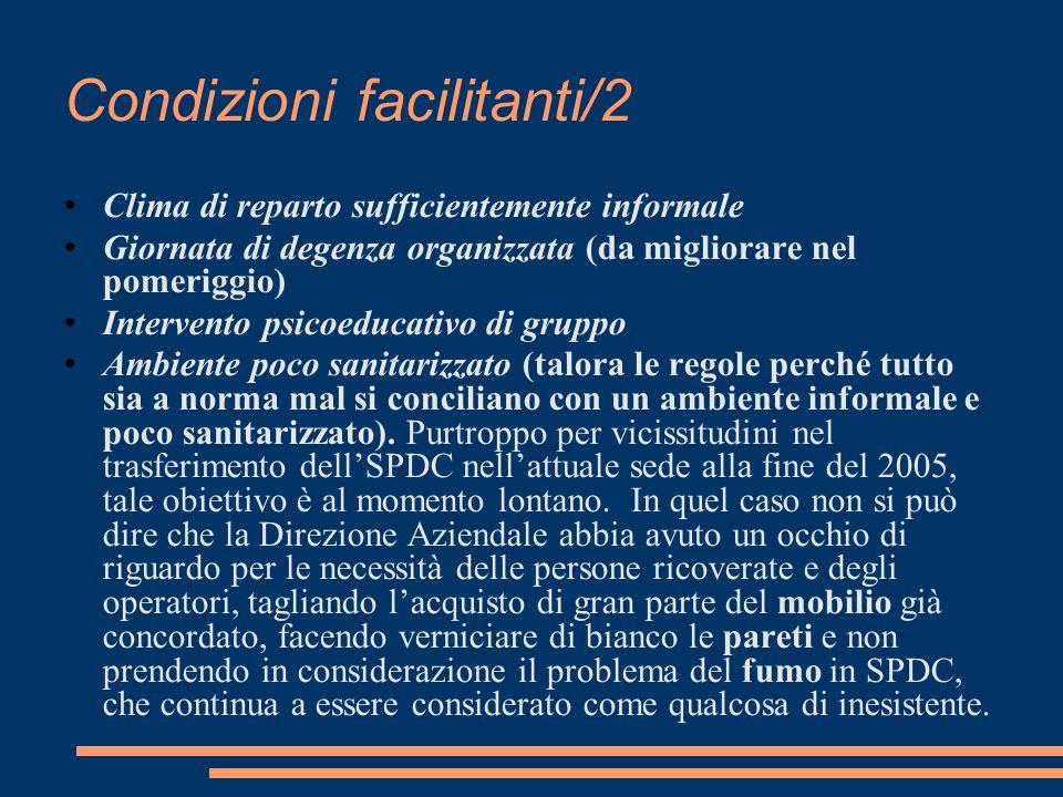 Condizioni facilitanti/2 Clima di reparto sufficientemente informale Giornata di degenza organizzata (da migliorare nel pomeriggio) Intervento psicoed