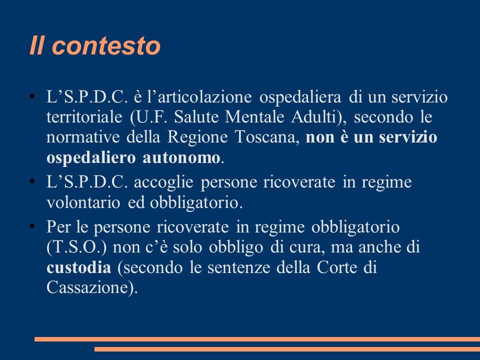 Il contesto LS.P.D.C. è larticolazione ospedaliera di un servizio territoriale (U.F. Salute Mentale Adulti), secondo le normative della Regione Toscan