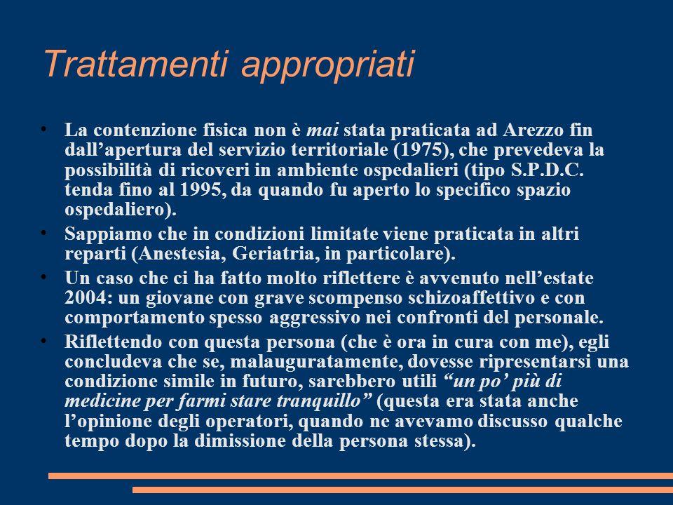 Trattamenti appropriati La contenzione fisica non è mai stata praticata ad Arezzo fin dallapertura del servizio territoriale (1975), che prevedeva la possibilità di ricoveri in ambiente ospedalieri (tipo S.P.D.C.