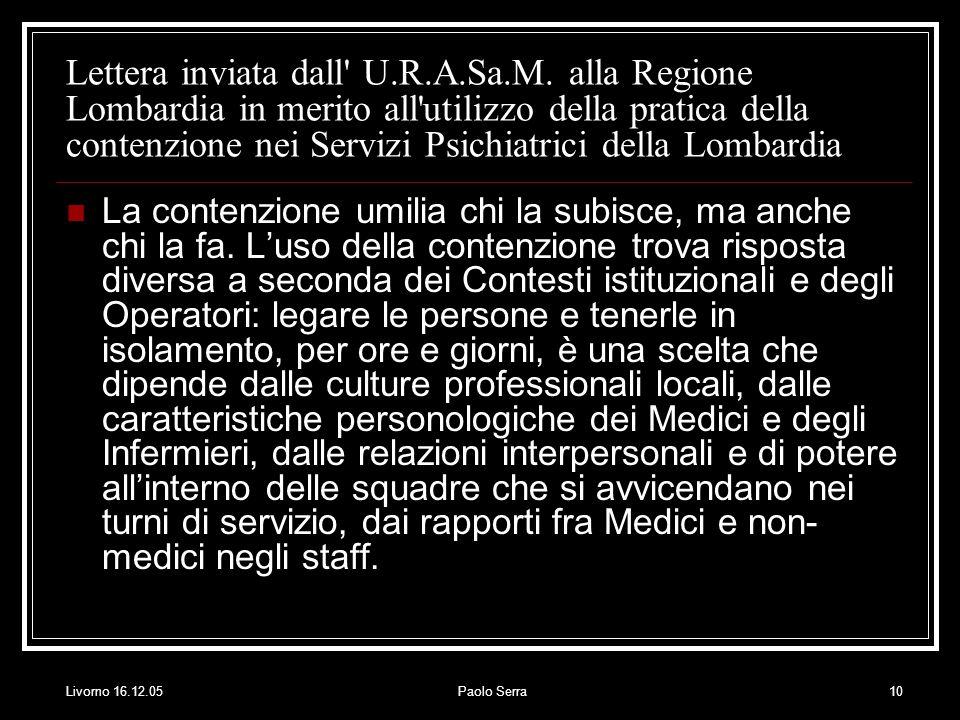Livorno 16.12.05Paolo Serra10 Lettera inviata dall U.R.A.Sa.M.