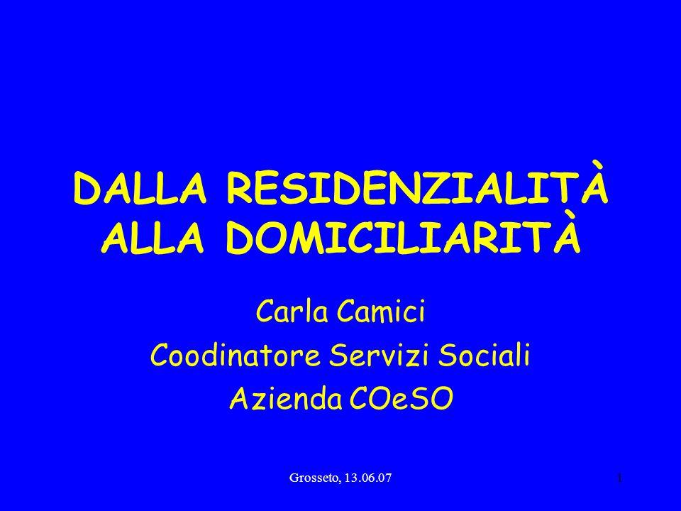 Grosseto, 13.06.071 DALLA RESIDENZIALITÀ ALLA DOMICILIARITÀ Carla Camici Coodinatore Servizi Sociali Azienda COeSO