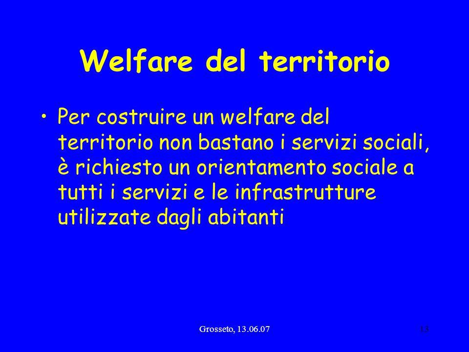Grosseto, 13.06.0713 Welfare del territorio Per costruire un welfare del territorio non bastano i servizi sociali, è richiesto un orientamento sociale