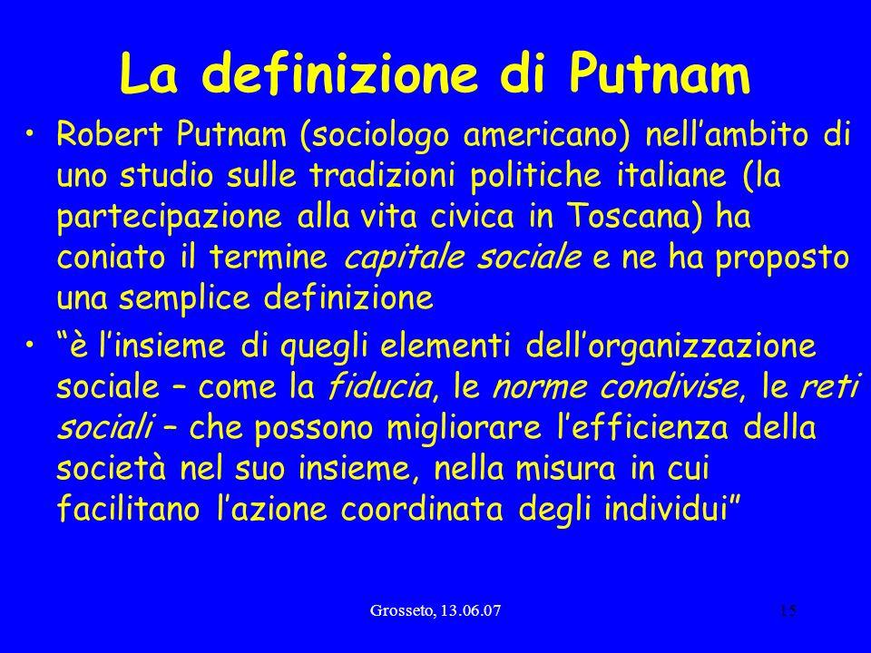 Grosseto, 13.06.0715 La definizione di Putnam Robert Putnam (sociologo americano) nellambito di uno studio sulle tradizioni politiche italiane (la par