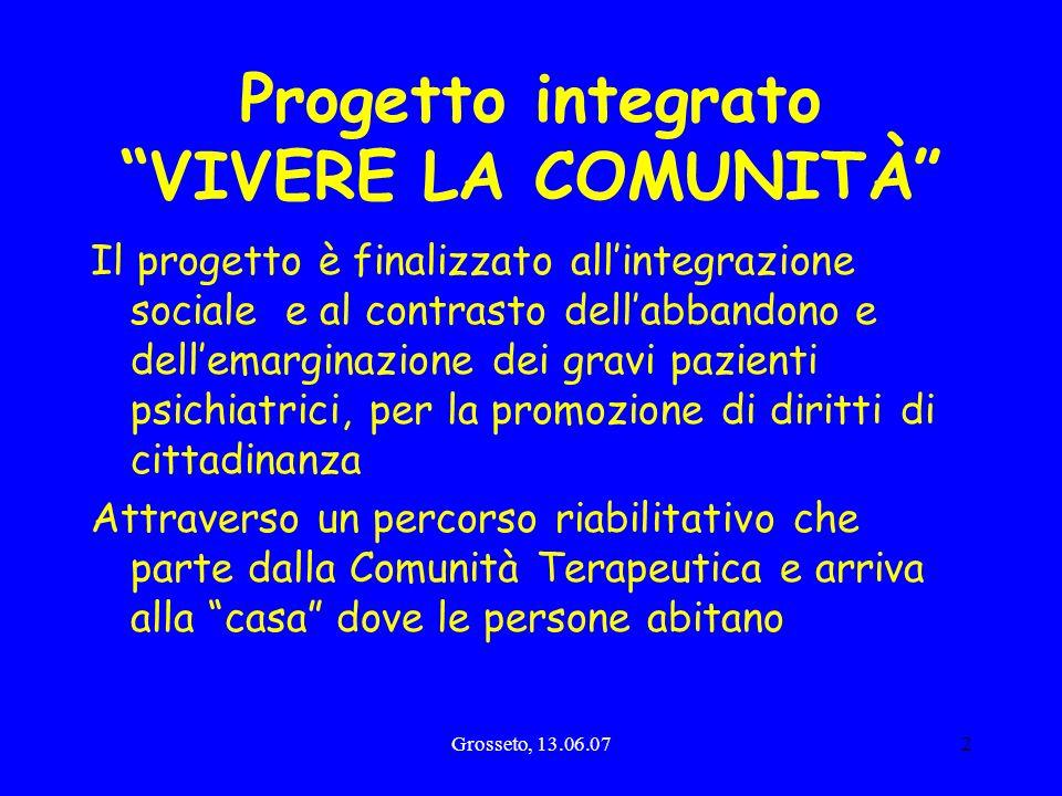 Grosseto, 13.06.072 Progetto integrato VIVERE LA COMUNITÀ Il progetto è finalizzato allintegrazione sociale e al contrasto dellabbandono e dellemargin