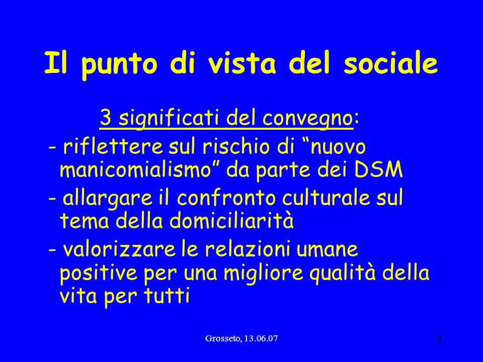 Grosseto, 13.06.074 Il punto di vista del sociale 3 significati del convegno: - riflettere sul rischio di nuovo manicomialismo da parte dei DSM - alla