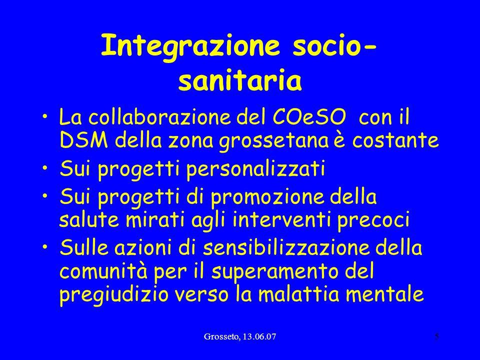 Grosseto, 13.06.075 Integrazione socio- sanitaria La collaborazione del COeSO con il DSM della zona grossetana è costante Sui progetti personalizzati