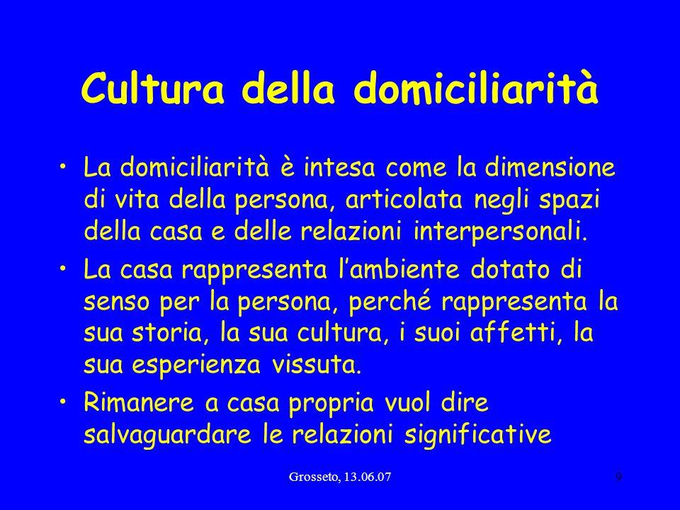 Grosseto, 13.06.079 Cultura della domiciliarità La domiciliarità è intesa come la dimensione di vita della persona, articolata negli spazi della casa