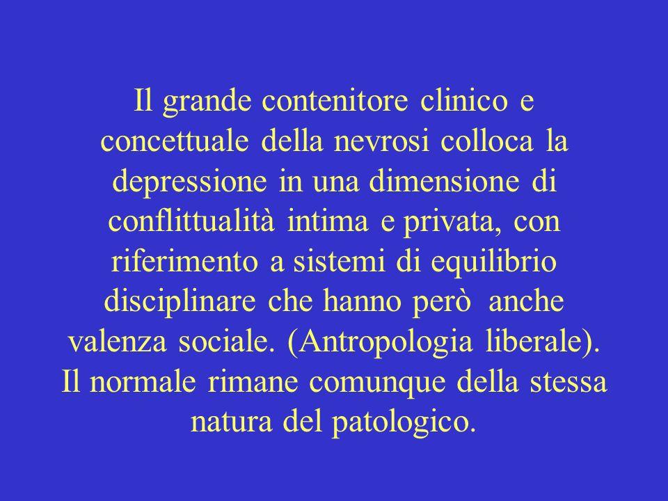 Il grande contenitore clinico e concettuale della nevrosi colloca la depressione in una dimensione di conflittualità intima e privata, con riferimento