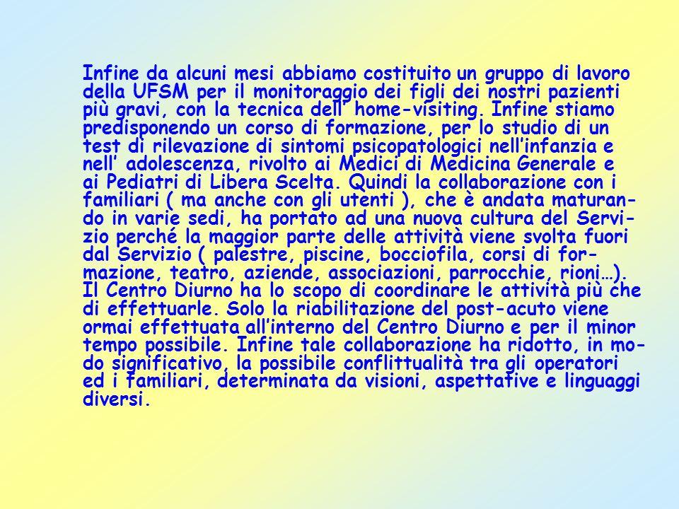 Infine da alcuni mesi abbiamo costituito un gruppo di lavoro della UFSM per il monitoraggio dei figli dei nostri pazienti più gravi, con la tecnica dell home-visiting.