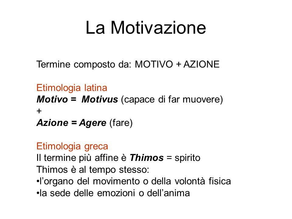 La Motivazione Termine composto da: MOTIVO + AZIONE Etimologia latina Motivo = Motivus (capace di far muovere) + Azione = Agere (fare) Etimologia grec