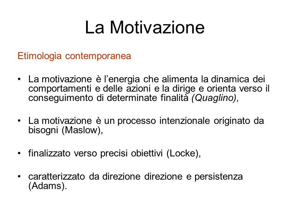 La Motivazione Etimologia contemporanea La motivazione è lenergia che alimenta la dinamica dei comportamenti e delle azioni e la dirige e orienta vers