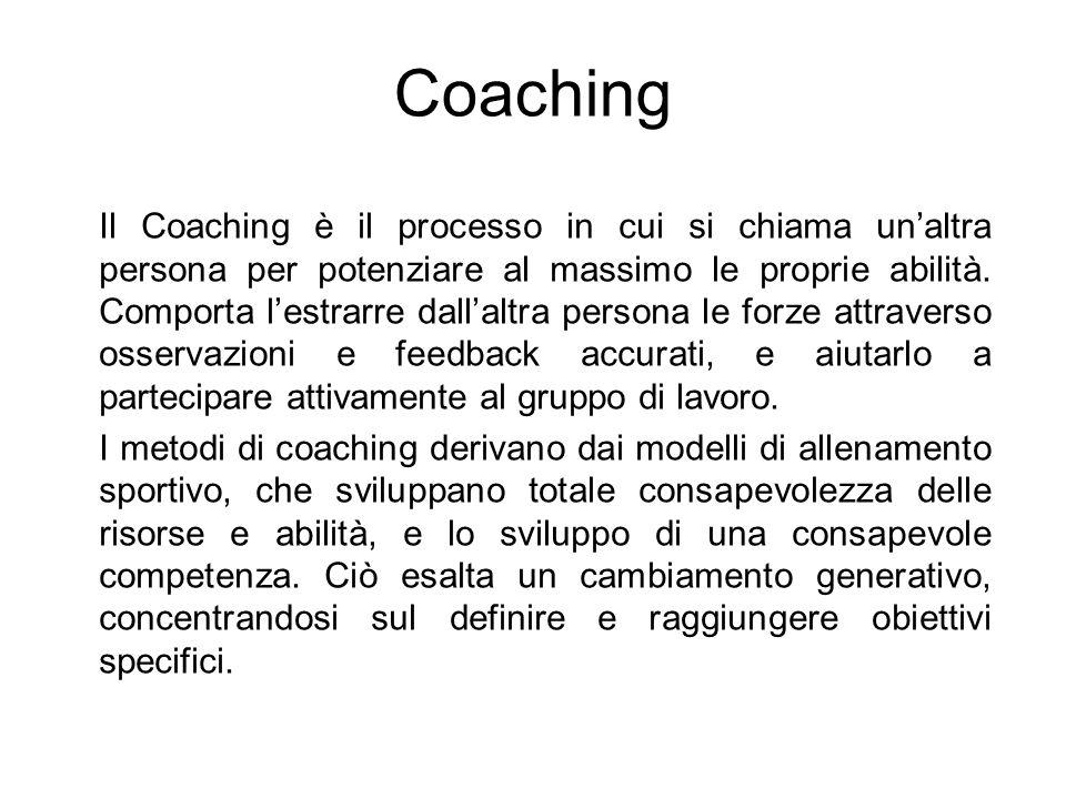 Coaching Il Coaching è il processo in cui si chiama unaltra persona per potenziare al massimo le proprie abilità. Comporta lestrarre dallaltra persona