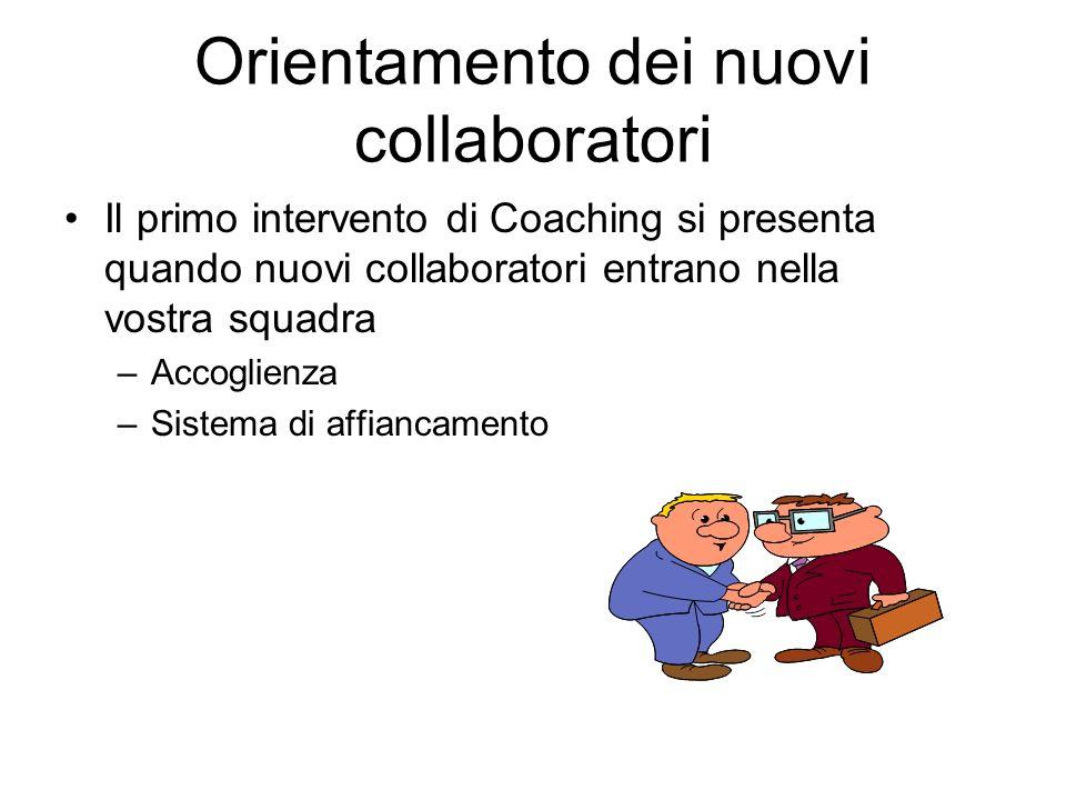 Orientamento dei nuovi collaboratori Il primo intervento di Coaching si presenta quando nuovi collaboratori entrano nella vostra squadra –Accoglienza