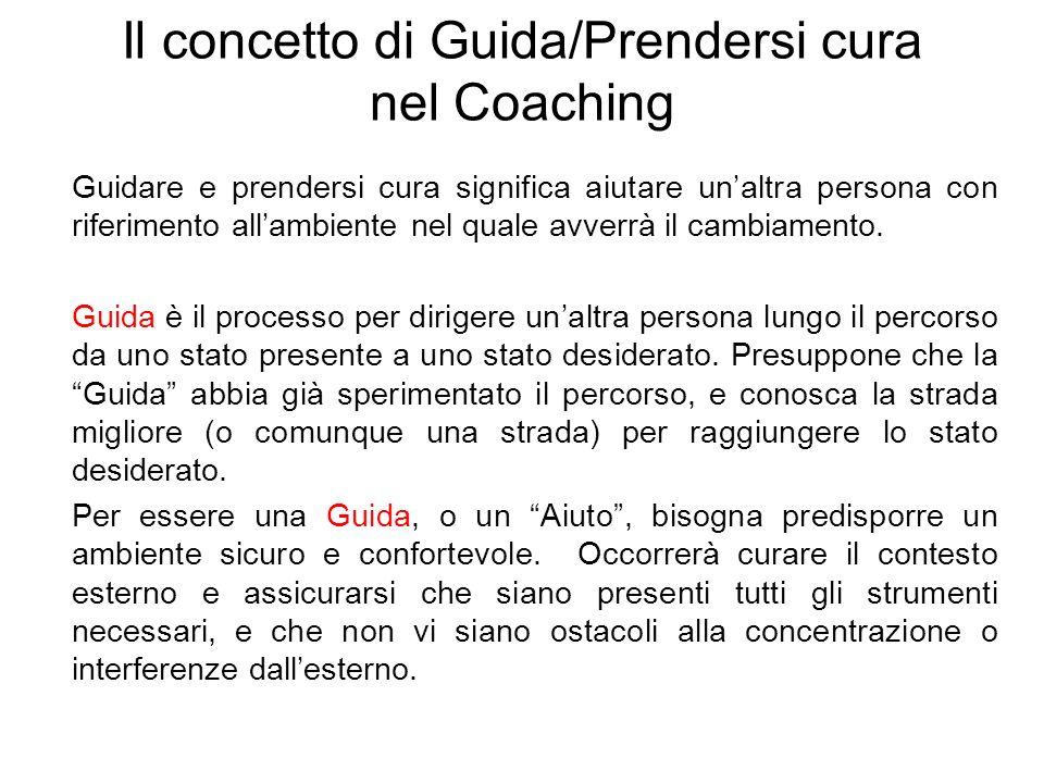 Il concetto di Guida/Prendersi cura nel Coaching Guidare e prendersi cura significa aiutare unaltra persona con riferimento allambiente nel quale avve