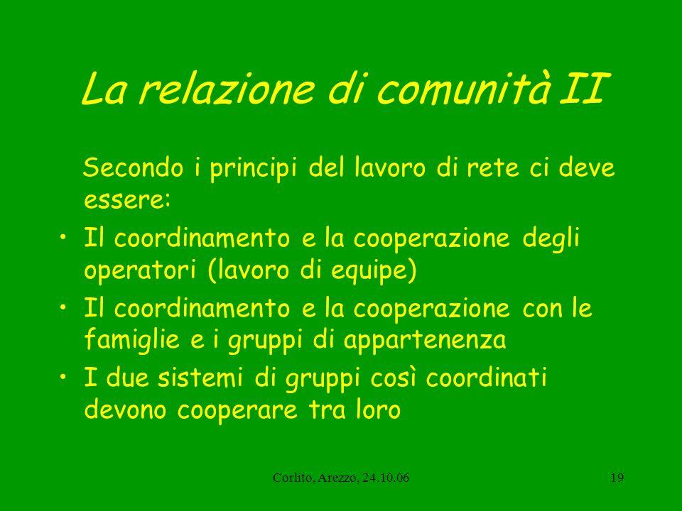Corlito, Arezzo, 24.10.0619 La relazione di comunità II Secondo i principi del lavoro di rete ci deve essere: Il coordinamento e la cooperazione degli