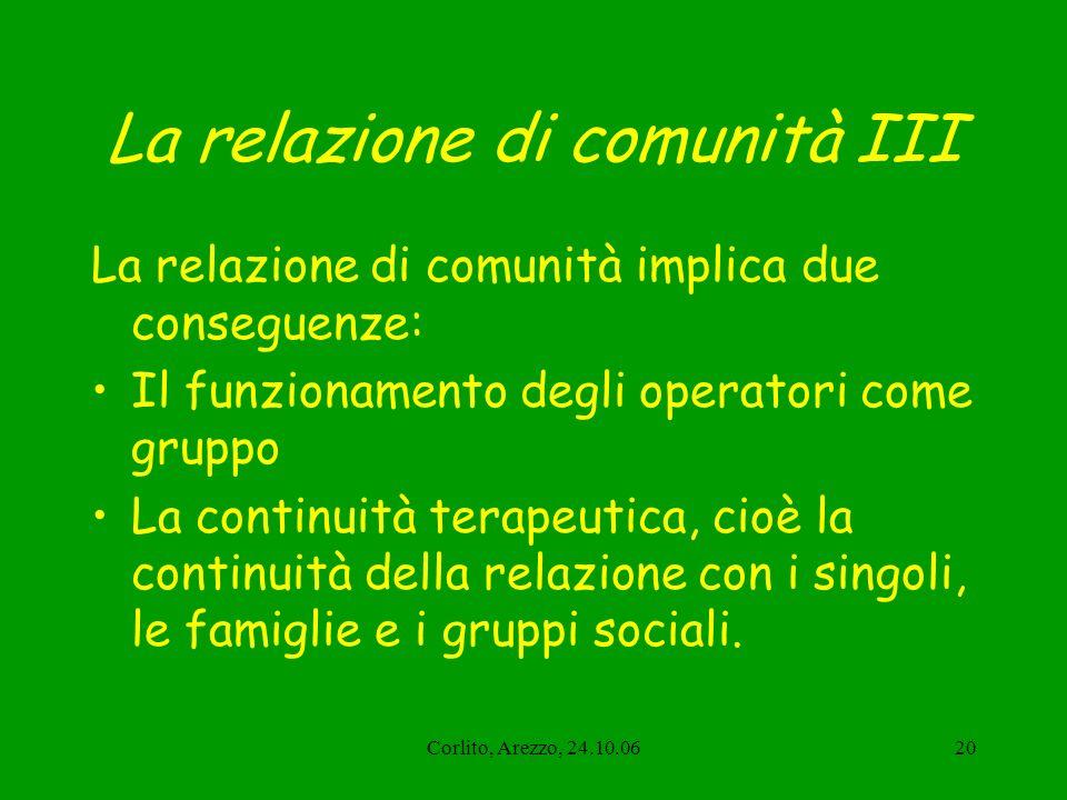 Corlito, Arezzo, 24.10.0620 La relazione di comunità III La relazione di comunità implica due conseguenze: Il funzionamento degli operatori come grupp