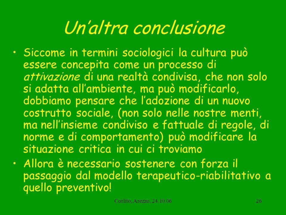 Corlito, Arezzo, 24.10.0626 Unaltra conclusione Siccome in termini sociologici la cultura può essere concepita come un processo di attivazione di una