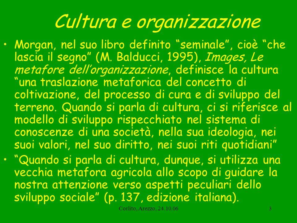 Corlito, Arezzo, 24.10.064 La cultura organizzativa Quindi, quando usiamo il termine cultura organizzativa, utilizziamo una metafora complessa e continuata (in senso retorico unallegoria), che ci permette di pensare ai gruppi organizzati (anche i nostri servizi) non come a macchine, ma come organismi viventi tipicamente umani e sociali, che nascono e si sviluppano, con un sistema di valori propri, storicamente determinato e condiviso, che si adatta e modifica lambiente in cui si trova.