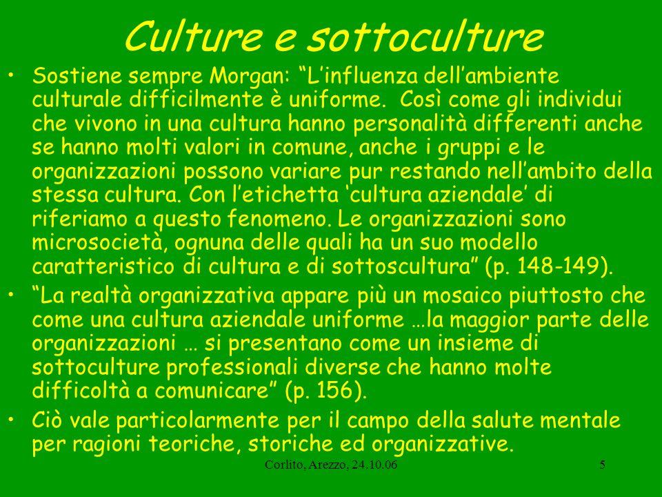 Corlito, Arezzo, 24.10.065 Culture e sottoculture Sostiene sempre Morgan: Linfluenza dellambiente culturale difficilmente è uniforme. Così come gli in