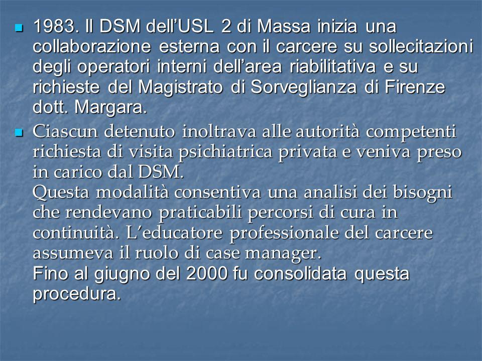 1983. Il DSM dellUSL 2 di Massa inizia una collaborazione esterna con il carcere su sollecitazioni degli operatori interni dellarea riabilitativa e su