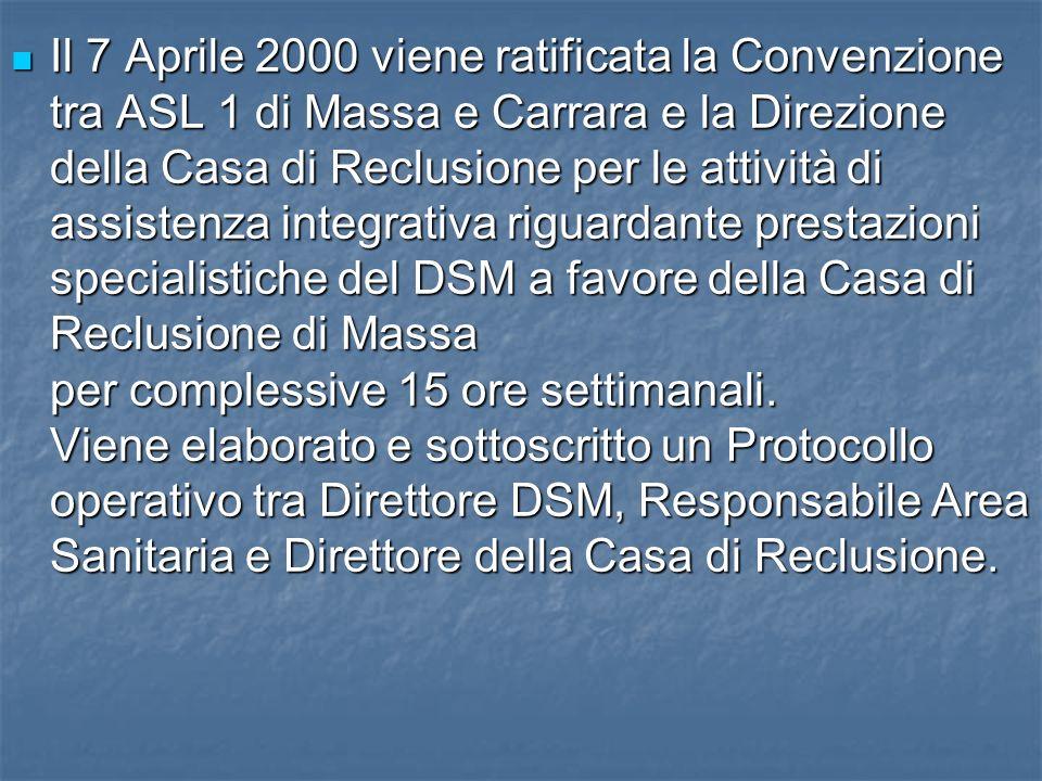 Il 7 Aprile 2000 viene ratificata la Convenzione tra ASL 1 di Massa e Carrara e la Direzione della Casa di Reclusione per le attività di assistenza in