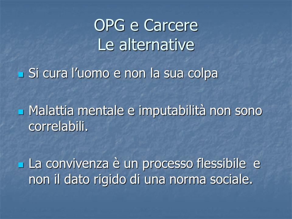 OPG e Carcere Le alternative Si cura luomo e non la sua colpa Si cura luomo e non la sua colpa Malattia mentale e imputabilità non sono correlabili. M