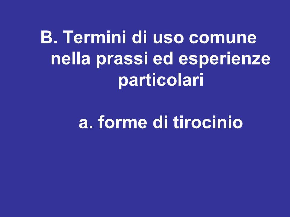 B. Termini di uso comune nella prassi ed esperienze particolari a. forme di tirocinio