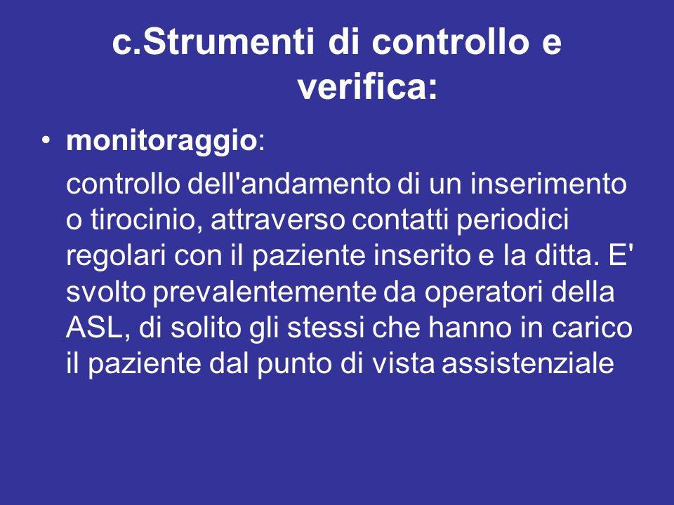 c.Strumenti di controllo e verifica: monitoraggio: controllo dell'andamento di un inserimento o tirocinio, attraverso contatti periodici regolari con