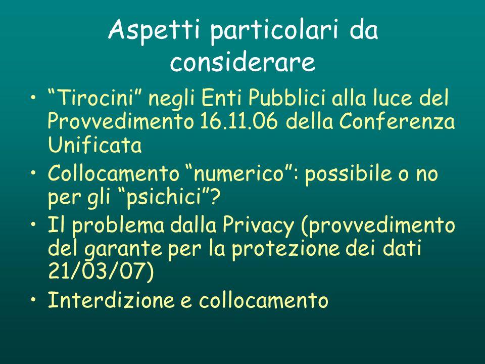 Aspetti particolari da considerare Tirocini negli Enti Pubblici alla luce del Provvedimento 16.11.06 della Conferenza Unificata Collocamento numerico: