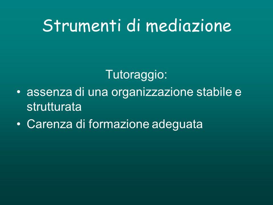 Strumenti di mediazione Tutoraggio: assenza di una organizzazione stabile e strutturata Carenza di formazione adeguata